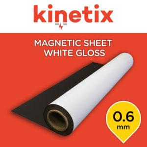 Kinetix Magnetic Sheet White Gloss 0.6mm - 1200mm x 20m